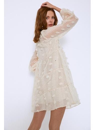 Quzu Dantelli Mini Elbise Bej